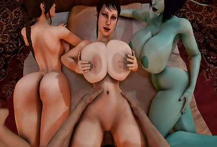 Une femme plantureuse nique et deux autres regardent