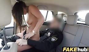 Le policier déplace une belle canne dans la voiture